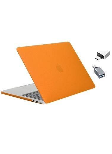 """Mcstorey Yeni MacBook Pro Touchbarlı A1706 A1708 A1989 A2159 13.3"""" Kılıf Kapak Hard case Mat Oranj"""
